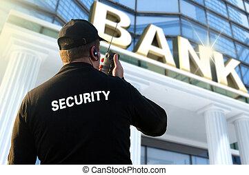 oficial segurança, banco