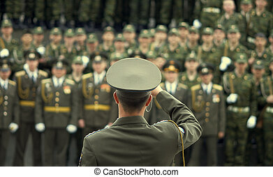 oficial, snap-shooting, militar