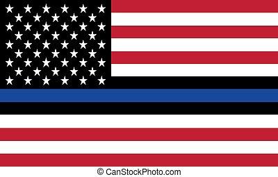 oficiales, aplicación, vector, policía, estados, honor, línea, unido, ley, bandera, azul