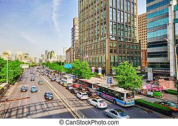 oficina, 20, china, 2015:, poder, urbano, calles, transporte, ciudadanos, vida, ordinario, gente, beijing, moderno, city., -, edificios, residencial, grande