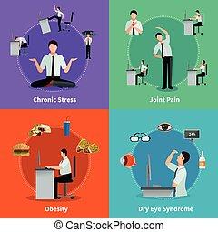 oficina, 2x2, diseño, síndrome, concepto