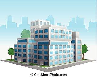 oficina, alterado, vector, edificio, estilizado, genérico, moderno, corporativo
