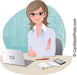 oficina, bastante, corporación mercantil de mujer