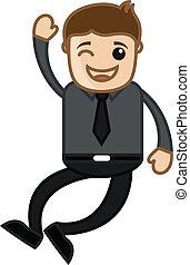 oficina,  -, caricatura,  vector, alegre, hombre