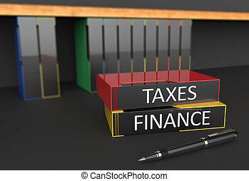 oficina, carpetas, impuestos