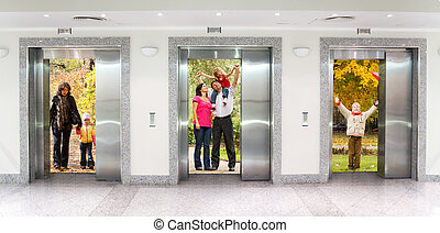 oficina, collage, tres, edificio, elevador, pasillo, otoño, ...