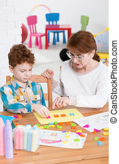 oficina, colorido, terapeuta, por, aprendizaje, niño,...