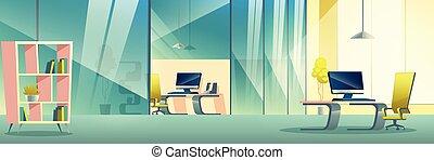 oficina, compañía, moderno, vector, interior, caricatura