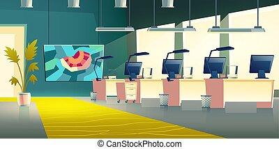 oficina, compañía, moderno, vestíbulo, vector, interior, ...
