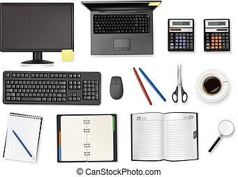 oficina, computadora, supplies., vecto