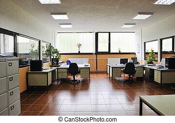 oficina, con, computadoras, interior
