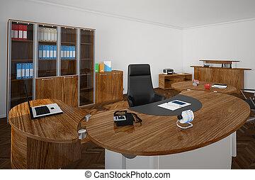 oficina, con, de madera, muebles