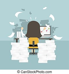oficina, concept., duro, mujer de negocios, mesa., trabajo, ...