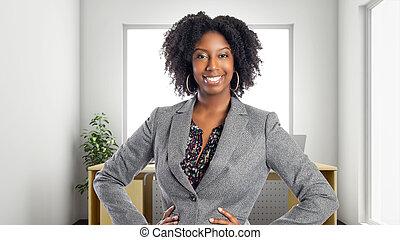 oficina, confiado, mujer de negocios, americano africano