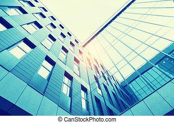 oficina contemporánea, edificio, vidrio azul, pared, detalle