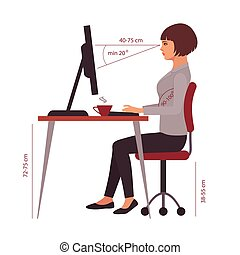 oficina, correcto, sentado, postura, posición, escritorio