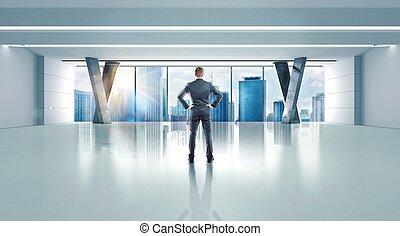oficina, de, un, exitoso, hombre