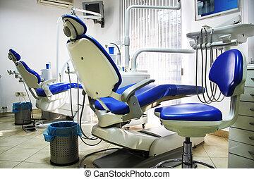 oficina dental, con, dos, azul y blanco, sillas