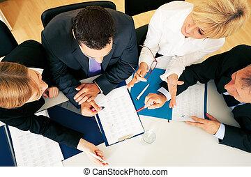 oficina, -, discusión, trabajo en equipo