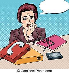 oficina, ella, empresa / negocio, vector, work., dedos, tasking, morder, nervioso, taponazo, ilustración, arte, mujer, multi