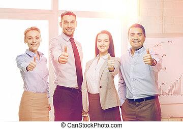 oficina, empresa / negocio, actuación, arriba, pulgares, equipo