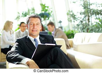 oficina, empresa / negocio, ambiente, ambicioso, retrato, ...