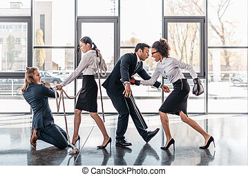 oficina, empresa / negocio, pelea, multicultural, joven, pelea, equipo