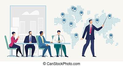 oficina, empresa / negocio, vector, compañía, reunión, ...