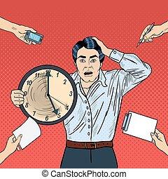 oficina, empresa / negocio, vector, hombre grande, enfatizado, tenencia, reloj, deadline., tasking, trabajo, taponazo, ilustración, arte, multi