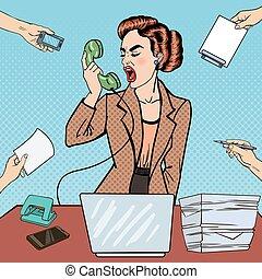 oficina, empresa / negocio, vector, work., agresivo, tasking, taponazo, estridente, teléfono, ilustración, arte, mujer, multi