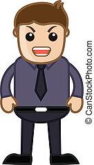oficina, enojado,  -,  vector, caricatura, hombre