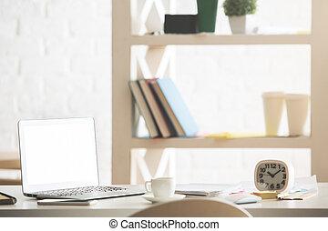oficina, escritorio, con, blanco, computador portatil