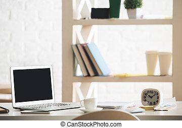 oficina, escritorio, con, computador portatil