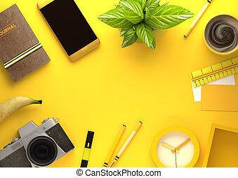 oficina, escritorio, vista, con, objetos de la corporación mercantil, en, amarillo