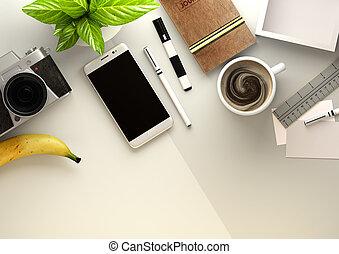 oficina, escritorio, vista, con, objetos de la corporación mercantil