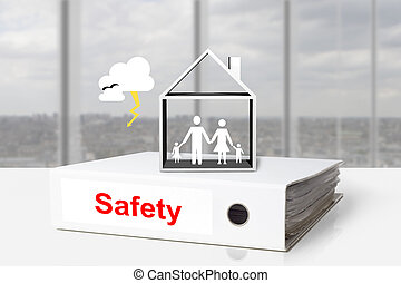 oficina, familia , casa, tormenta, carpeta, seguridad