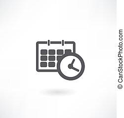 oficina, horario, reloj, -, calendario, icono