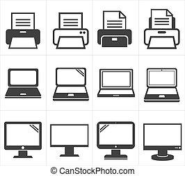 oficina, icono, fax, equipo