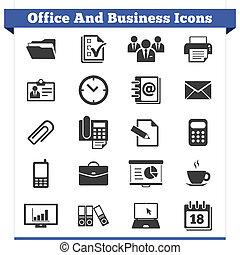 oficina, iconos del negocio