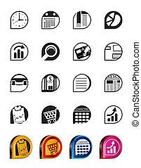 oficina, iconos simples, empresa / negocio