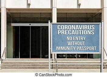 oficina, immunity, acceso, exterior, restringir, concepto, aviso, virus, trabajadores