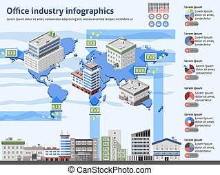 oficina, industria, infographics