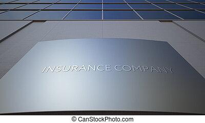 oficina, interpretación, compañía, seguro, edificio., signage, board., resumen, moderno, 3d