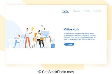 oficina., juntos, programa, work., vector, bandera, programación, ilustración, coders, coding., programadores, tela, trabajando, plano, moderno, website., colegas, plantilla, o, software, desarrollo