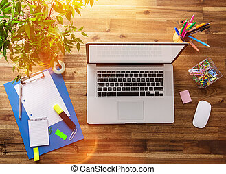 oficina, lugar de trabajo, con, de madera, desk.