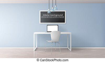 oficina, mockup, realista, vector, lugar de trabajo, hogar