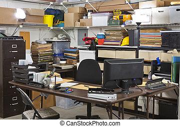 oficina ocupada, envío, escritorio, almacén, receiving