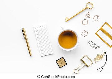 oficina, oro, vista, moderno, brillo, color., plano de fondo...