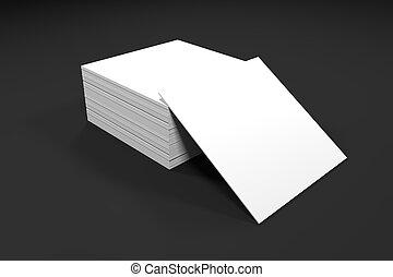 oficina, papel, escritorio, tarjetas, blanco, pila
