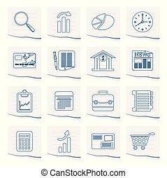 oficina, papel, pedazo, iconos del negocio, internet
